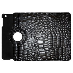 Black Alligator Leather Apple Ipad Mini Flip 360 Case by Amaryn4rt