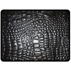 Black Alligator Leather Double Sided Fleece Blanket (large)  by Amaryn4rt