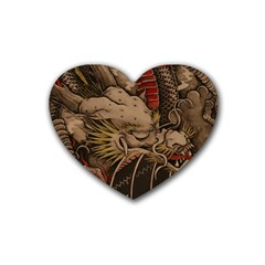 Chinese Dragon Rubber Coaster (heart)  by Amaryn4rt