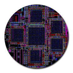 Technology Circuit Board Layout Pattern Round Mousepads by Amaryn4rt