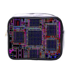Technology Circuit Board Layout Pattern Mini Toiletries Bags by Amaryn4rt