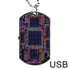 Technology Circuit Board Layout Pattern Dog Tag Usb Flash (two Sides) by Amaryn4rt
