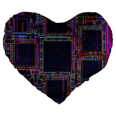 Technology Circuit Board Layout Pattern Large 19  Premium Heart Shape Cushions by Amaryn4rt