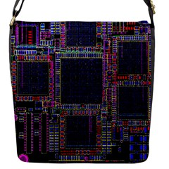 Technology Circuit Board Layout Pattern Flap Messenger Bag (s) by Amaryn4rt