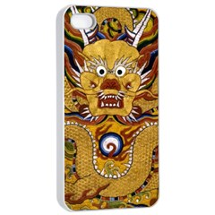Chinese Dragon Pattern Apple Iphone 4/4s Seamless Case (white) by Amaryn4rt