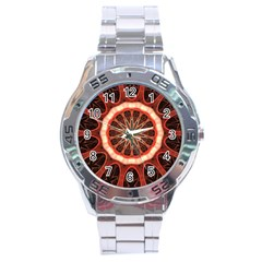 Circle Pattern Stainless Steel Analogue Watch