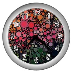 Circle Abstract Wall Clocks (silver)  by Amaryn4rt