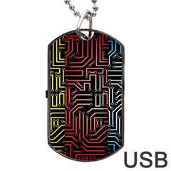 Circuit Board Seamless Patterns Set Dog Tag Usb Flash (two Sides) by Amaryn4rt
