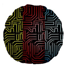 Circuit Board Seamless Patterns Set Large 18  Premium Round Cushions by Amaryn4rt