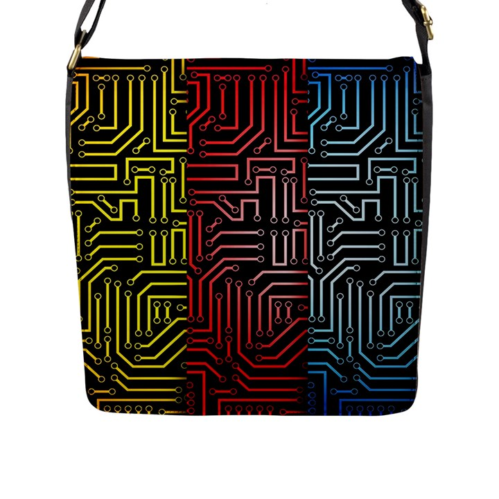 Circuit Board Seamless Patterns Set Flap Messenger Bag (L)