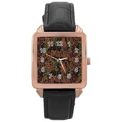 Digital Camouflage Rose Gold Leather Watch