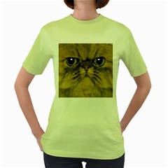 Cute Persian Cat Face In Closeup Women s Green T Shirt by Amaryn4rt