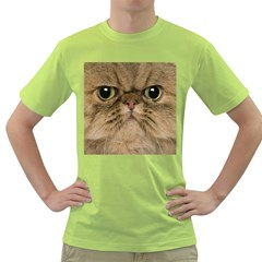 Cute Persian Cat Face In Closeup Green T Shirt