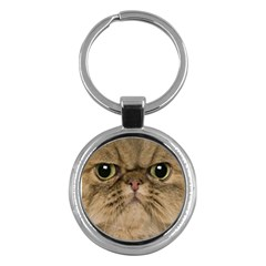 Cute Persian Cat Face In Closeup Key Chains (round)  by Amaryn4rt