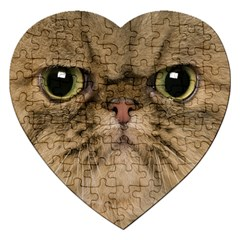 Cute Persian Cat Face In Closeup Jigsaw Puzzle (heart) by Amaryn4rt