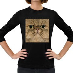 Cute Persian Cat Face In Closeup Women s Long Sleeve Dark T Shirts by Amaryn4rt