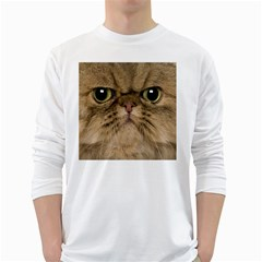Cute Persian Cat Face In Closeup White Long Sleeve T Shirts by Amaryn4rt