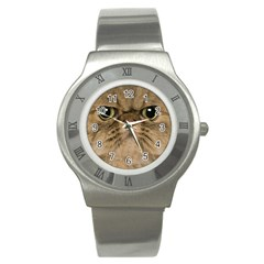 Cute Persian Cat Face In Closeup Stainless Steel Watch