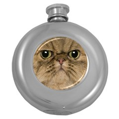 Cute Persian Cat Face In Closeup Round Hip Flask (5 Oz) by Amaryn4rt