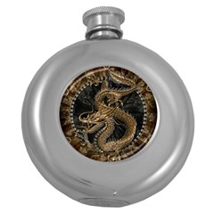 Dragon Pentagram Round Hip Flask (5 Oz) by Amaryn4rt