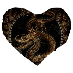 Dragon Pentagram Large 19  Premium Heart Shape Cushions by Amaryn4rt