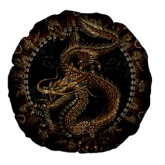 Dragon Pentagram Large 18  Premium Flano Round Cushions by Amaryn4rt