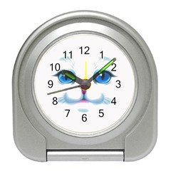 Cute White Cat Blue Eyes Face Travel Alarm Clocks by Amaryn4rt