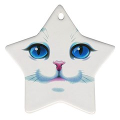 Cute White Cat Blue Eyes Face Star Ornament (two Sides)