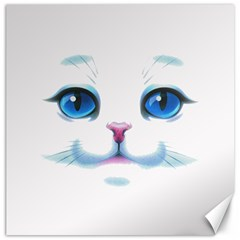 Cute White Cat Blue Eyes Face Canvas 12  X 12   by Amaryn4rt