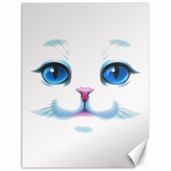 Cute White Cat Blue Eyes Face Canvas 12  X 16   by Amaryn4rt