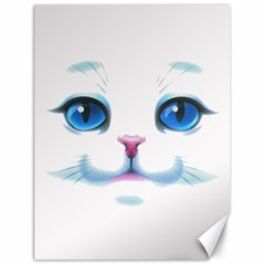 Cute White Cat Blue Eyes Face Canvas 18  X 24   by Amaryn4rt