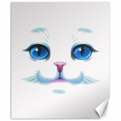 Cute White Cat Blue Eyes Face Canvas 20  X 24   by Amaryn4rt