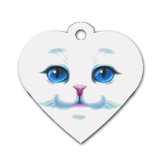 Cute White Cat Blue Eyes Face Dog Tag Heart (one Side) by Amaryn4rt