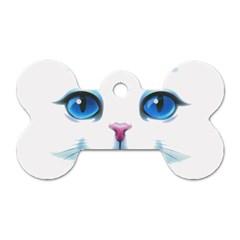 Cute White Cat Blue Eyes Face Dog Tag Bone (two Sides) by Amaryn4rt
