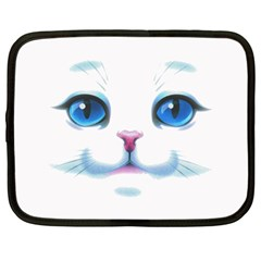 Cute White Cat Blue Eyes Face Netbook Case (large) by Amaryn4rt