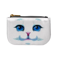 Cute White Cat Blue Eyes Face Mini Coin Purses by Amaryn4rt