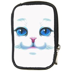 Cute White Cat Blue Eyes Face Compact Camera Cases by Amaryn4rt