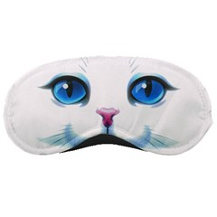 Cute White Cat Blue Eyes Face Sleeping Masks by Amaryn4rt