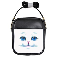Cute White Cat Blue Eyes Face Girls Sling Bags by Amaryn4rt