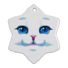 Cute White Cat Blue Eyes Face Snowflake Ornament (two Sides) by Amaryn4rt