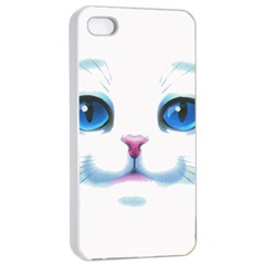 Cute White Cat Blue Eyes Face Apple Iphone 4/4s Seamless Case (white) by Amaryn4rt