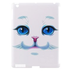 Cute White Cat Blue Eyes Face Apple Ipad 3/4 Hardshell Case (compatible With Smart Cover) by Amaryn4rt