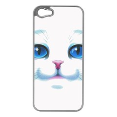 Cute White Cat Blue Eyes Face Apple Iphone 5 Case (silver) by Amaryn4rt