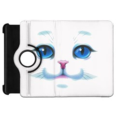 Cute White Cat Blue Eyes Face Kindle Fire Hd 7  by Amaryn4rt