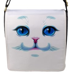 Cute White Cat Blue Eyes Face Flap Messenger Bag (s) by Amaryn4rt