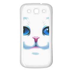 Cute White Cat Blue Eyes Face Samsung Galaxy S3 Back Case (white)