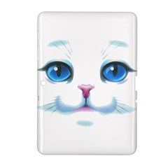 Cute White Cat Blue Eyes Face Samsung Galaxy Tab 2 (10 1 ) P5100 Hardshell Case  by Amaryn4rt