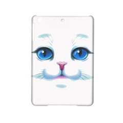 Cute White Cat Blue Eyes Face Ipad Mini 2 Hardshell Cases by Amaryn4rt