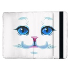 Cute White Cat Blue Eyes Face Samsung Galaxy Tab Pro 12 2  Flip Case by Amaryn4rt