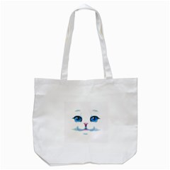 Cute White Cat Blue Eyes Face Tote Bag (white) by Amaryn4rt